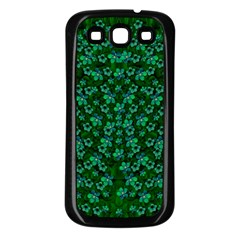 Leaf Forest And Blue Flowers In Peace Samsung Galaxy S3 Back Case (black)