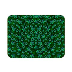 Leaf Forest And Blue Flowers In Peace Double Sided Flano Blanket (mini)