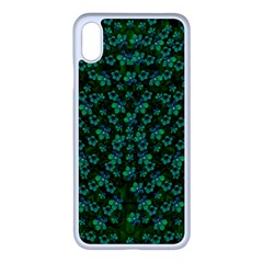 Leaf Forest And Blue Flowers In Peace Iphone Xs Max Seamless Case (white)