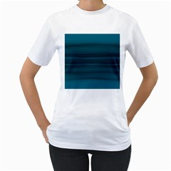 Teal Blue Ombre Women s T-shirt (white)  by SpinnyChairDesigns