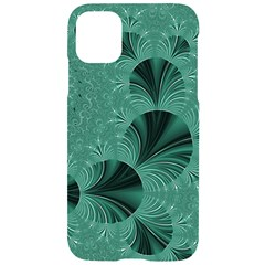 Biscay Green Black Spirals Iphone 11 Black Uv Print Case by SpinnyChairDesigns