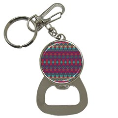 Boho Red Teal Pattern Bottle Opener Key Chain by SpinnyChairDesigns