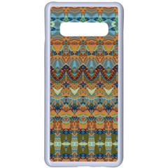 Boho Earth Colors Pattern Samsung Galaxy S10 Plus Seamless Case(white) by SpinnyChairDesigns