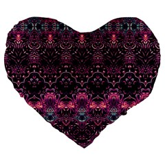 Boho Magenta Black Pattern Large 19  Premium Flano Heart Shape Cushions