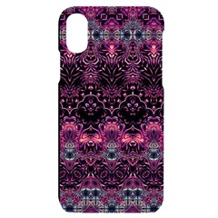 Boho Magenta Black Pattern Iphone X/xs Black Uv Print Case