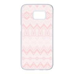Boho Pastel Pink Pattern Samsung Galaxy S7 Edge White Seamless Case