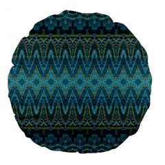 Boho Teal Blue Pattern Large 18  Premium Flano Round Cushions by SpinnyChairDesigns