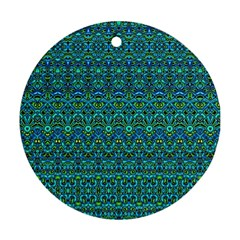 Boho Teal Green Blue Pattern Ornament (round)