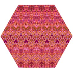 Boho Pink Pattern Wooden Puzzle Hexagon