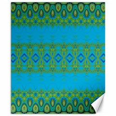 Boho Blue Green Pattern Canvas 8  X 10  by SpinnyChairDesigns