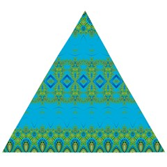 Boho Blue Green Pattern Wooden Puzzle Triangle