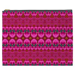 Boho Bright Pink Floral Cosmetic Bag (xxxl)