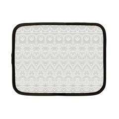 Boho White Wedding Lace Pattern Netbook Case (small)