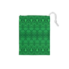 Boho Emerald Green Drawstring Pouch (small)