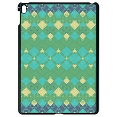 Boho Green Blue Checkered Apple Ipad Pro 9 7   Black Seamless Case by SpinnyChairDesigns