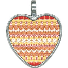 Boho Red Gold White Heart Necklace