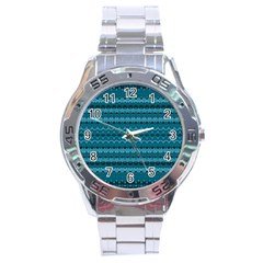 Boho Teal Pattern Stainless Steel Analogue Watch by SpinnyChairDesigns