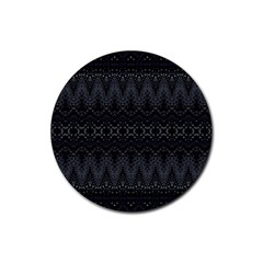 Boho Black And Silver Rubber Coaster (round)  by SpinnyChairDesigns