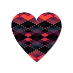 Pink Orange Black Diamond Pattern Heart Magnet by SpinnyChairDesigns
