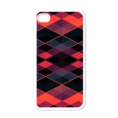 Pink Orange Black Diamond Pattern Iphone 4 Case (white)
