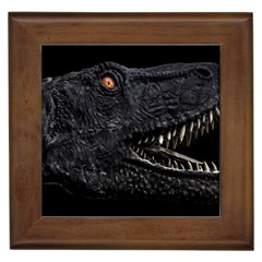Trex Dinosaur Head Dark Poster Framed Tile