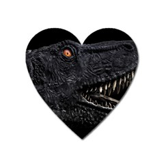 Trex Dinosaur Head Dark Poster Heart Magnet by dflcprintsclothing