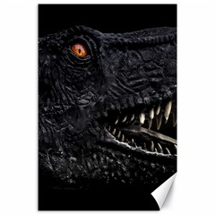 Trex Dinosaur Head Dark Poster Canvas 24  X 36  by dflcprintsclothing