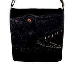 Trex Dinosaur Head Dark Poster Flap Closure Messenger Bag (l)