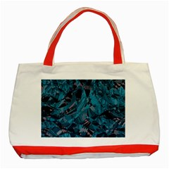 Boho Cerulean Blue Mosaic Classic Tote Bag (red) by SpinnyChairDesigns