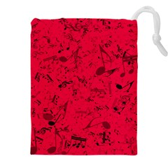 Scarlet Red Music Notes Drawstring Pouch (4xl)