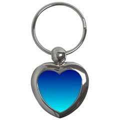 Aqua Blue And Indigo Ombre Key Chain (heart)