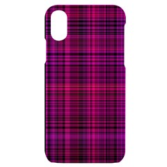 Fuchsia Madras Plaid Iphone X/xs Black Uv Print Case