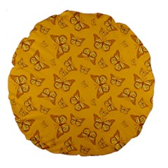Mustard Yellow Monarch Butterflies Large 18  Premium Round Cushions