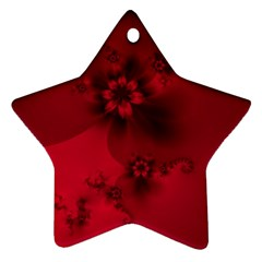 Scarlet Red Floral Print Ornament (star) by SpinnyChairDesigns