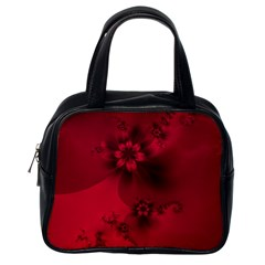 Scarlet Red Floral Print Classic Handbag (one Side) by SpinnyChairDesigns