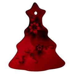 Scarlet Red Floral Print Christmas Tree Ornament (two Sides)