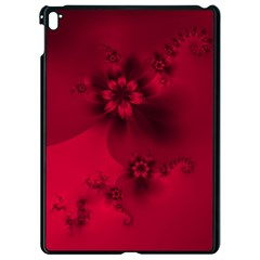 Scarlet Red Floral Print Apple Ipad Pro 9 7   Black Seamless Case by SpinnyChairDesigns