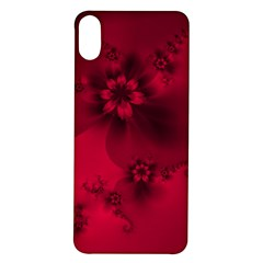 Scarlet Red Floral Print Iphone X/xs Soft Bumper Uv Case by SpinnyChairDesigns