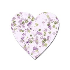 Purple Wildflower Print Heart Magnet by SpinnyChairDesigns