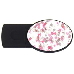 Pink Wildflower Print Usb Flash Drive Oval (2 Gb)
