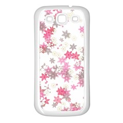 Pink Wildflower Print Samsung Galaxy S3 Back Case (white) by SpinnyChairDesigns