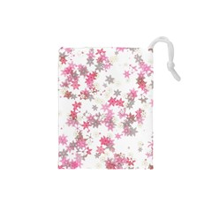 Pink Wildflower Print Drawstring Pouch (small) by SpinnyChairDesigns