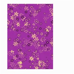 Gold Purple Floral Print Large Garden Flag (two Sides)