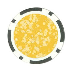 Saffron Yellow Floral Print Poker Chip Card Guard (10 Pack)