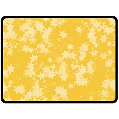 Saffron Yellow Floral Print Double Sided Fleece Blanket (large)  by SpinnyChairDesigns