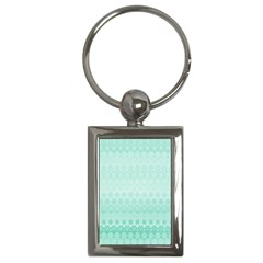 Biscay Green Floral Print Key Chain (rectangle) by SpinnyChairDesigns