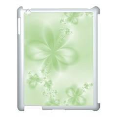 Tea Green Floral Print Apple Ipad 3/4 Case (white) by SpinnyChairDesigns