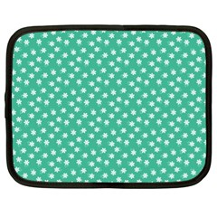 Biscay Green White Floral Print Netbook Case (xl) by SpinnyChairDesigns