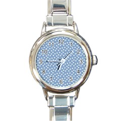 Faded Blue White Floral Print Round Italian Charm Watch by SpinnyChairDesigns