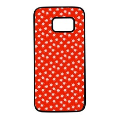 Red White Floral Print Samsung Galaxy S7 Black Seamless Case
